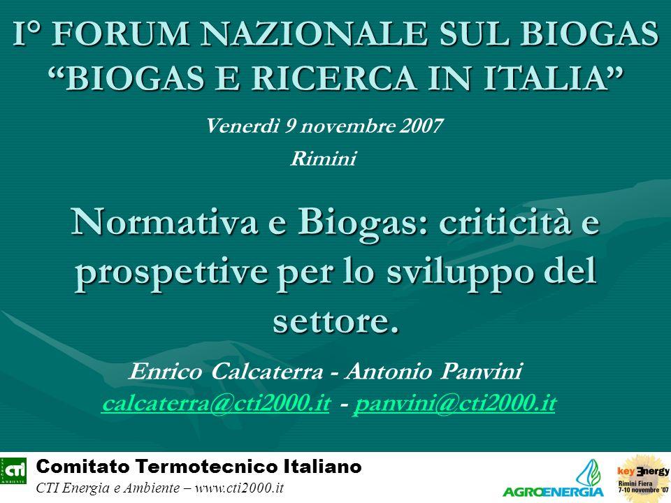 Normativa e Biogas: criticità e prospettive per lo sviluppo del settore. Venerdì 9 novembre 2007 Rimini Comitato Termotecnico Italiano CTI Energia e A