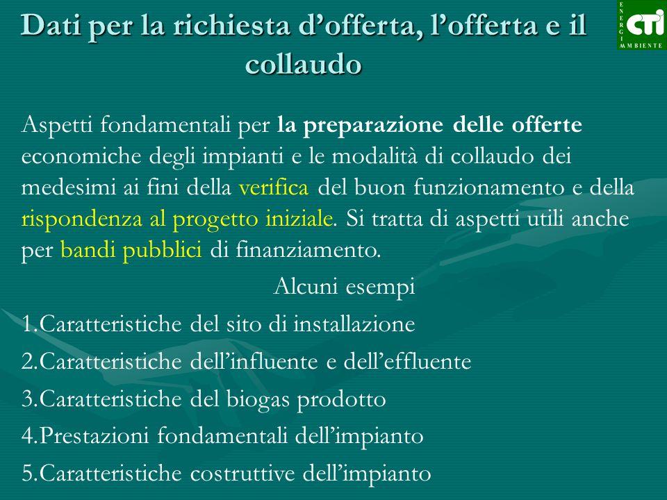 Dati per la richiesta dofferta, lofferta e il collaudo Aspetti fondamentali per la preparazione delle offerte economiche degli impianti e le modalità