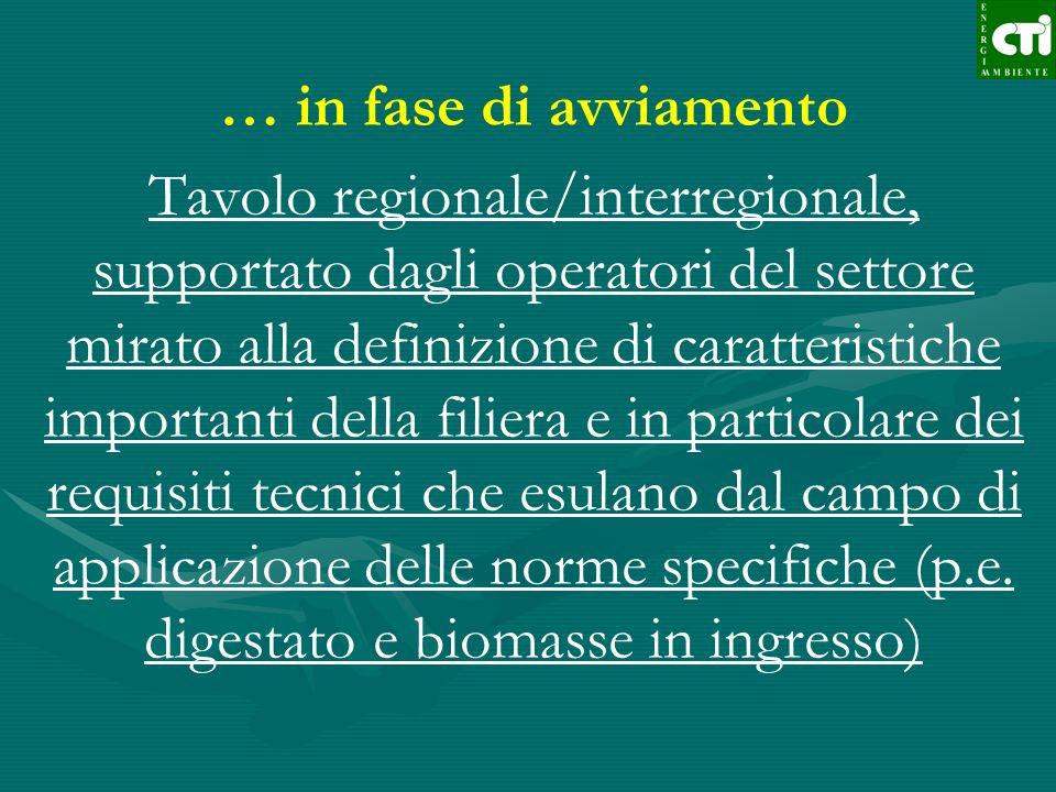 … in fase di avviamento Tavolo regionale/interregionale, supportato dagli operatori del settore mirato alla definizione di caratteristiche importanti