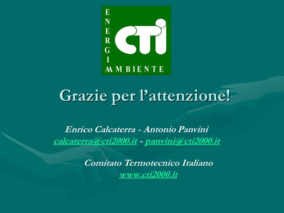 Grazie per lattenzione! Enrico Calcaterra - Antonio Panvini calcaterra@cti2000.itcalcaterra@cti2000.it - panvini@cti2000.itpanvini@cti2000.it Comitato