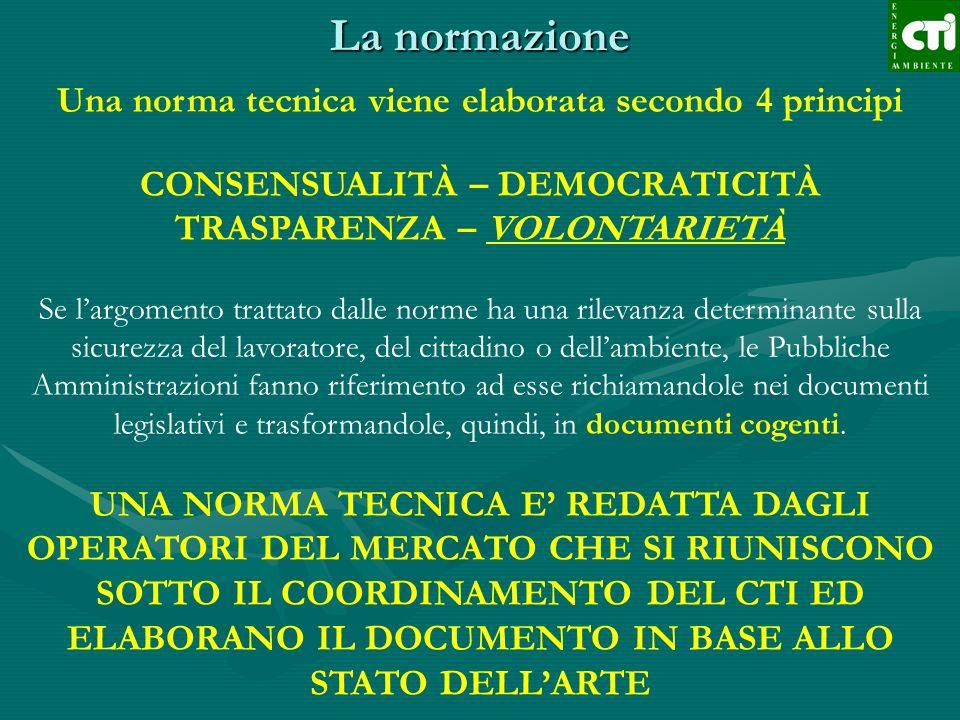 La normazione Una norma tecnica viene elaborata secondo 4 principi CONSENSUALITÀ – DEMOCRATICITÀ TRASPARENZA – VOLONTARIETÀ Se largomento trattato dal