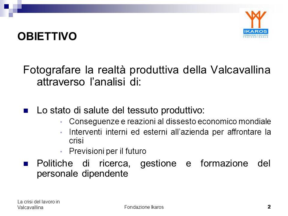 Fondazione Ikaros 13 La crisi del lavoro in Valcavallina STATO DI SALUTE RISPETTO ALLA CRISI ECONOMICA: LE STRATEGIE ADOTTATE DALLE AZIENDE