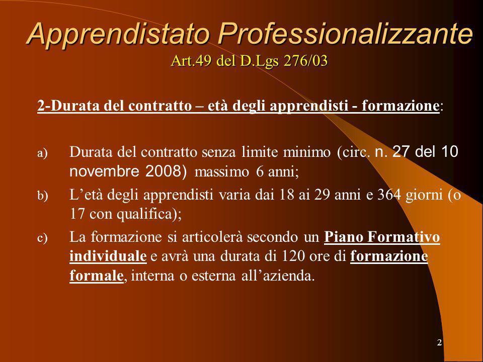 3 Apprendistato Professionalizzante Art.49 del D.Lgs 276/03 3-Formazione Formale: a) Svolta in ambiente organizzato e strutturato (Organismo di Formazione o azienda); b) Assistita da figure professionali competenti (se in azienda obbligo di istituire un Tutor e dare comunicazione al centro per limpiego del soggetto abilitato); c) Progettata in termini di obiettivi, tempi e risorse; d) Adesione dellapprendista; e) Gli esiti debbono essere verificabili e certificabili.