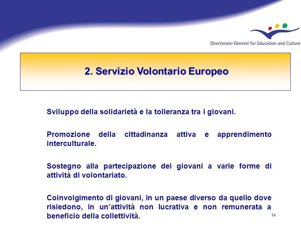 14 2. Servizio Volontario Europeo Sviluppo della solidarietà e la tolleranza tra i giovani.