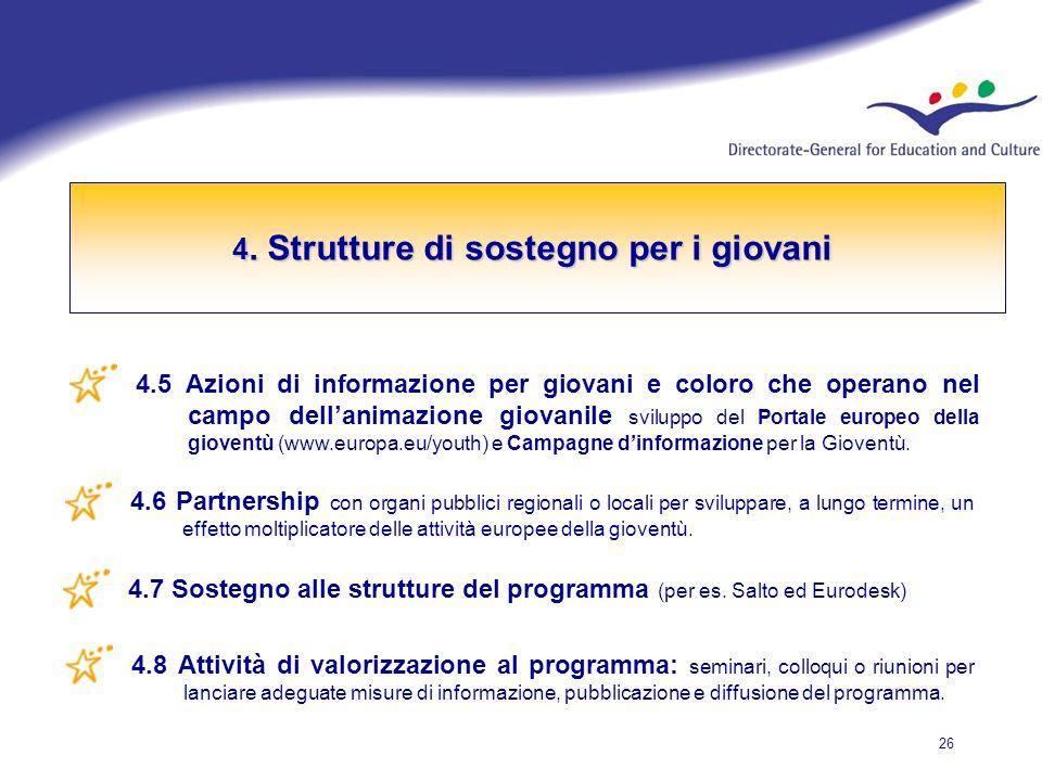 26 4.5 Azioni di informazione per giovani e coloro che operano nel campo dellanimazione giovanile sviluppo del Portale europeo della gioventù (www.europa.eu/youth) e Campagne dinformazione per la Gioventù.