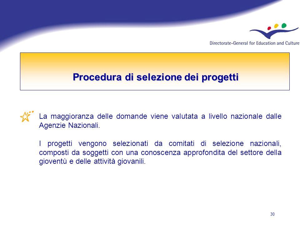 30 Procedura di selezione dei progetti La maggioranza delle domande viene valutata a livello nazionale dalle Agenzie Nazionali.