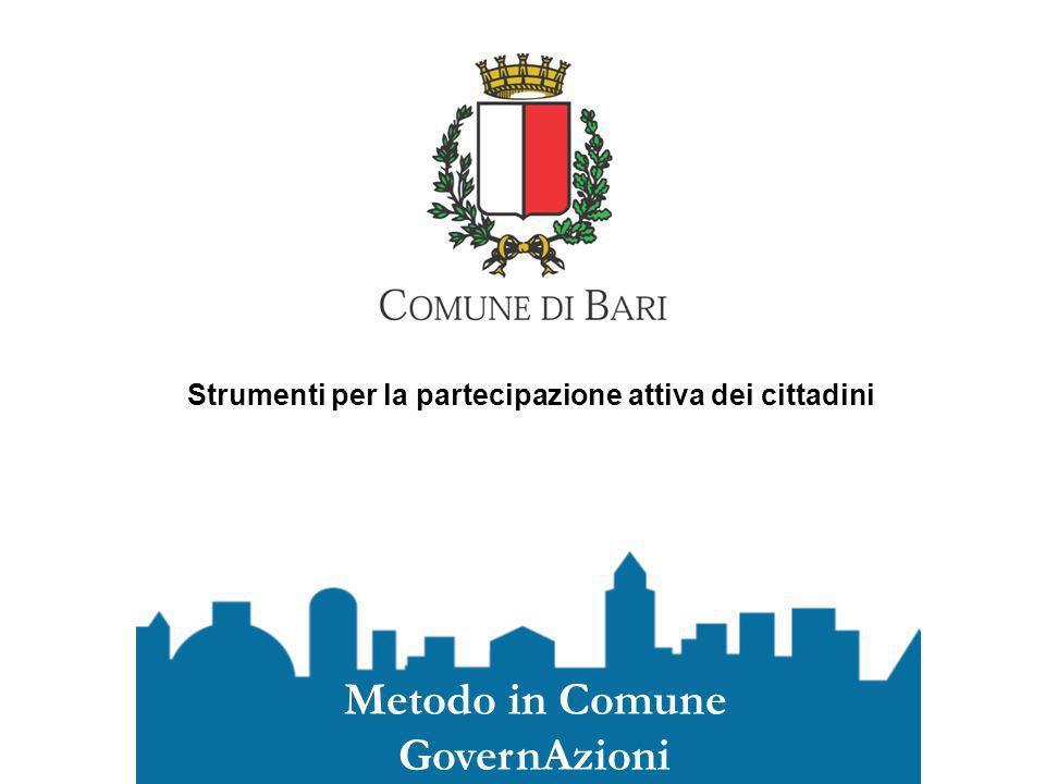 Strumenti per la partecipazione attiva dei cittadini Metodo in Comune GovernAzioni