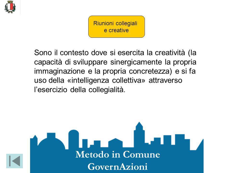 Riunioni collegiali e creative Sono il contesto dove si esercita la creatività (la capacità di sviluppare sinergicamente la propria immaginazione e la