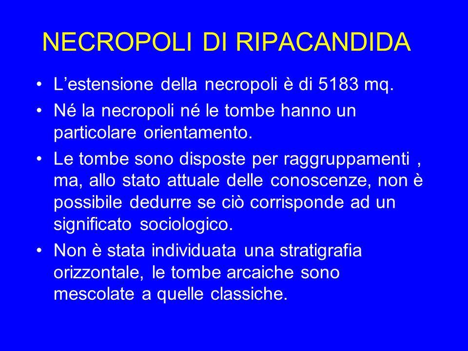 NECROPOLI DI RIPACANDIDA Lestensione della necropoli è di 5183 mq. Né la necropoli né le tombe hanno un particolare orientamento. Le tombe sono dispos