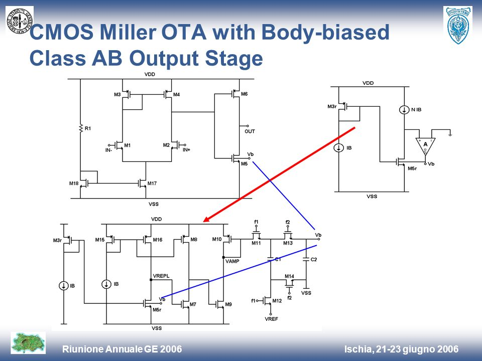 Ischia, 21-23 giugno 2006Riunione Annuale GE 2006 CMOS Miller OTA with Body-biased Class AB Output Stage