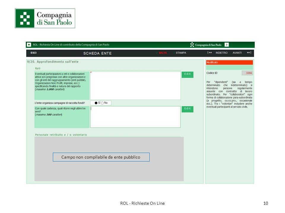 10ROL - Richieste On Line Campo non compilabile da ente pubblico