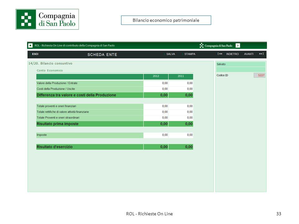 33ROL - Richieste On Line Bilancio economico patrimoniale