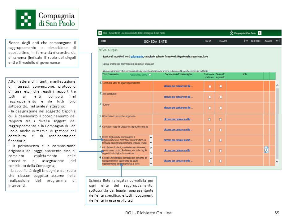 39ROL - Richieste On Line Elenco degli enti che compongono il raggruppamento e descrizione di questultimo, in forma sia discorsiva sia di schema (indi