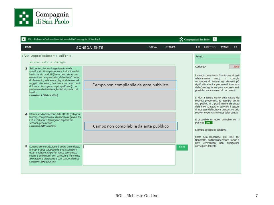 7ROL - Richieste On Line Campo non compilabile da ente pubblico
