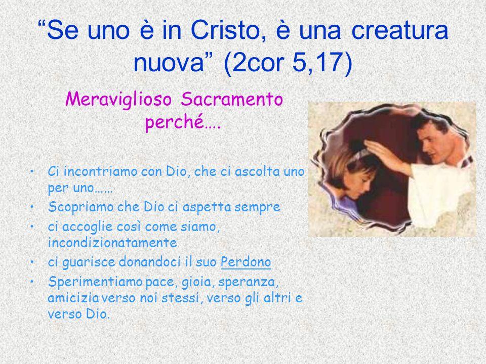 Se uno è in Cristo, è una creatura nuova (2cor 5,17) Meraviglioso Sacramento perché…. Ci incontriamo con Dio, che ci ascolta uno per uno…… Scopriamo c