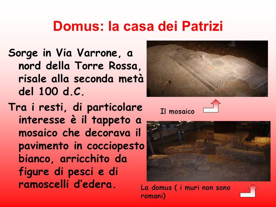 Domus: la casa dei Patrizi Sorge in Via Varrone, a nord della Torre Rossa, risale alla seconda metà del 100 d.C. Tra i resti, di particolare interesse