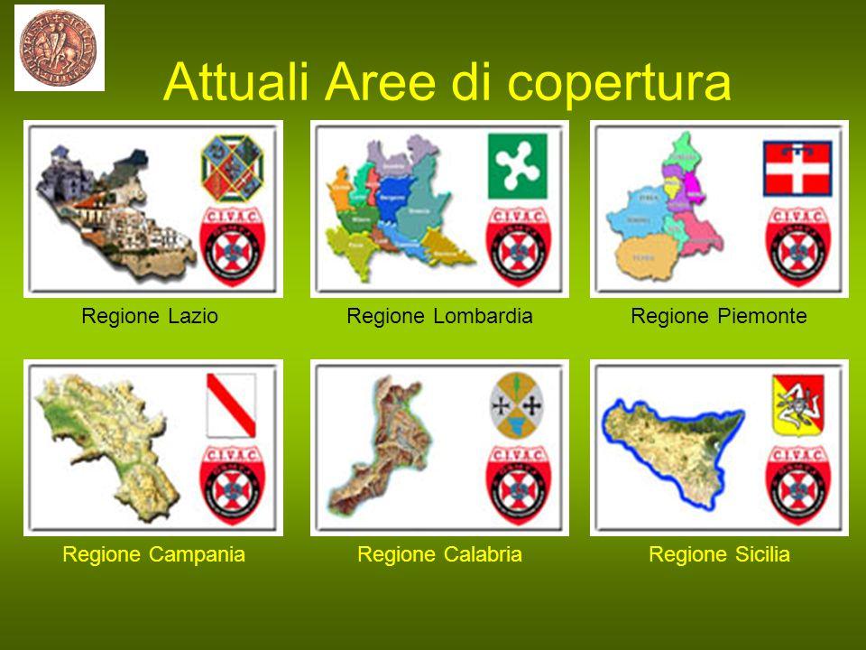 Attuali Aree di copertura Regione LazioRegione LombardiaRegione Piemonte Regione CampaniaRegione CalabriaRegione Sicilia