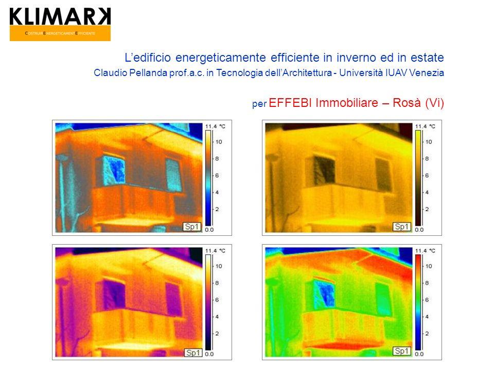 Ledificio energeticamente efficiente in inverno ed in estate Claudio Pellanda prof.a.c. in Tecnologia dellArchitettura - Università IUAV Venezia per E
