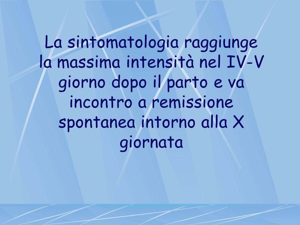 La sintomatologia raggiunge la massima intensità nel IV-V giorno dopo il parto e va incontro a remissione spontanea intorno alla X giornata