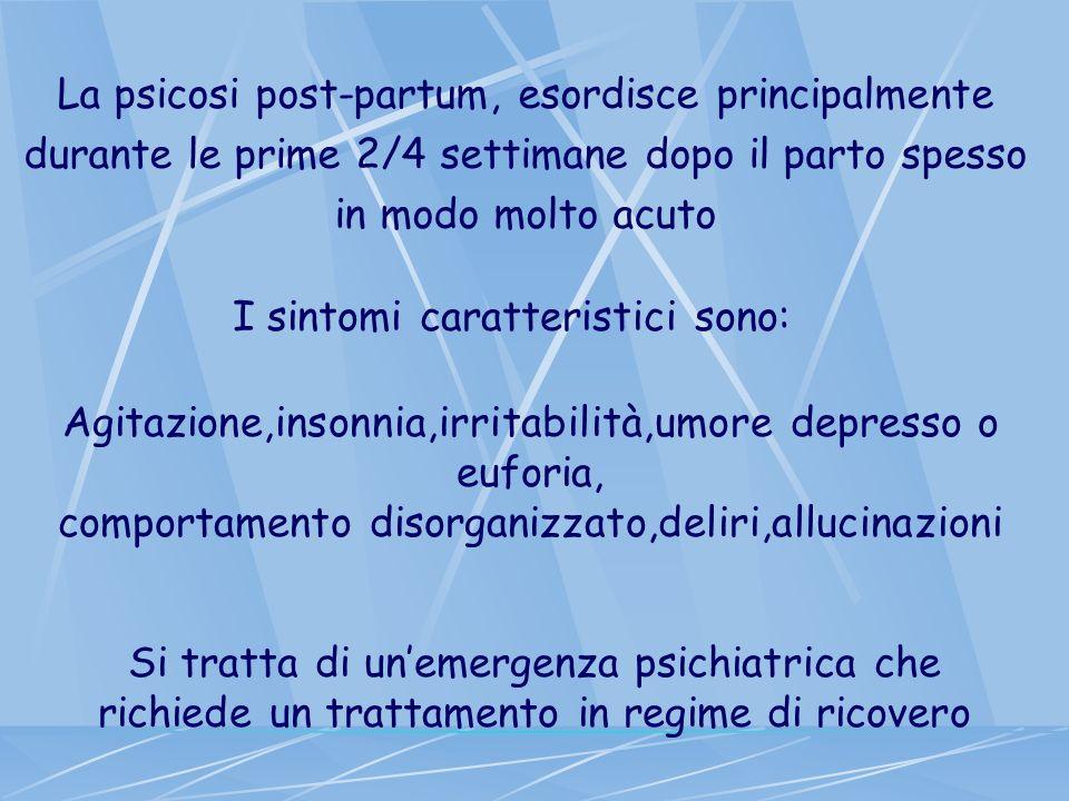 La psicosi post-partum, esordisce principalmente durante le prime 2/4 settimane dopo il parto spesso in modo molto acuto I sintomi caratteristici sono