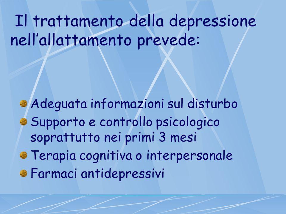 Il trattamento della depressione nellallattamento prevede: Adeguata informazioni sul disturbo Supporto e controllo psicologico soprattutto nei primi 3