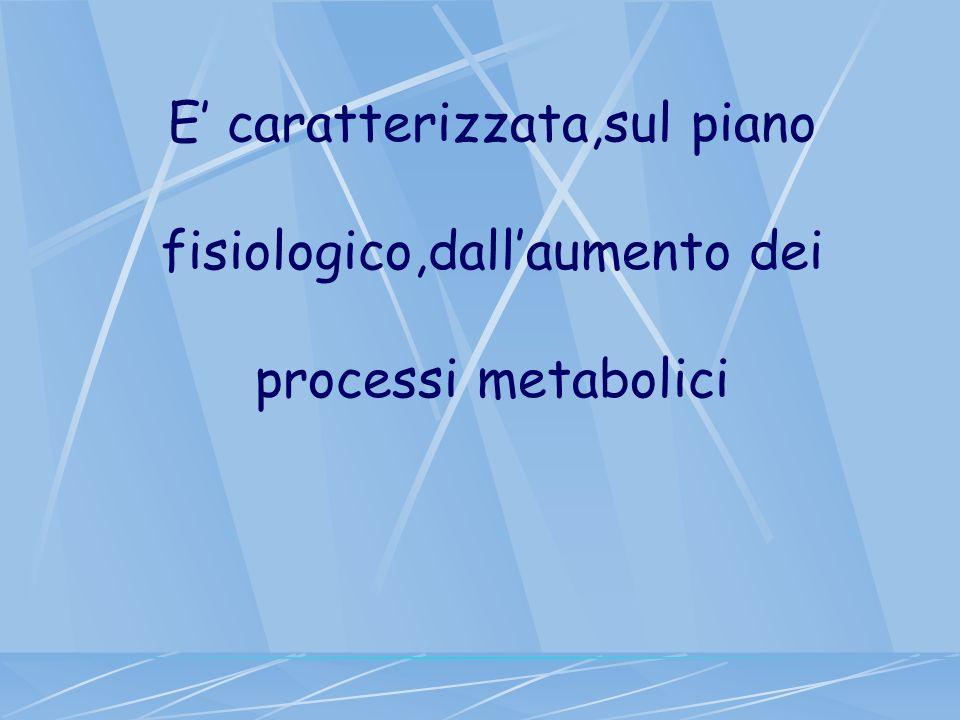 E caratterizzata,sul piano fisiologico,dallaumento dei processi metabolici