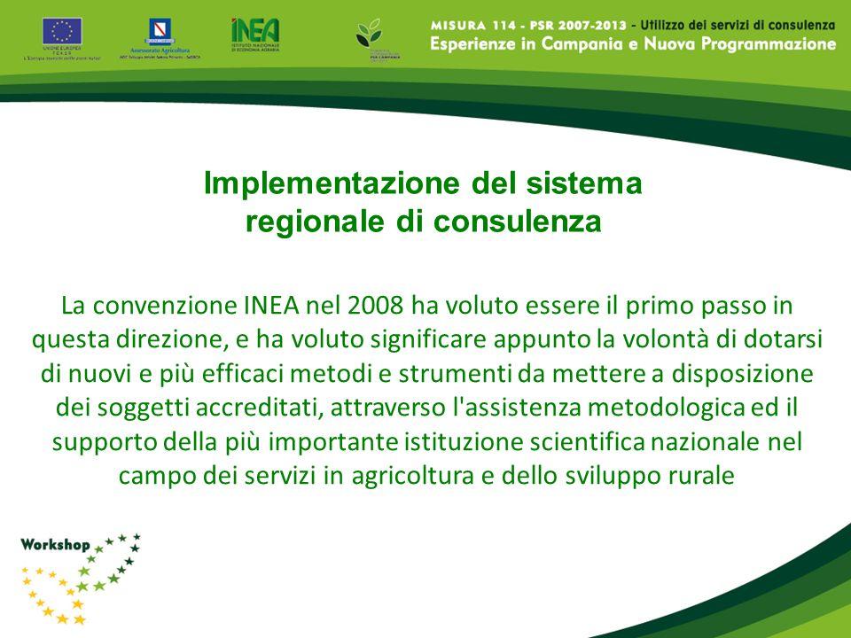 La convenzione INEA nel 2008 ha voluto essere il primo passo in questa direzione, e ha voluto significare appunto la volontà di dotarsi di nuovi e più