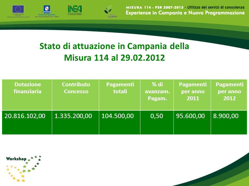 Stato di attuazione in Campania della Misura 114 al 29.02.2012 Dotazione finanziaria Contributo Concesso Pagamenti totali % di avanzam. Pagam. Pagamen