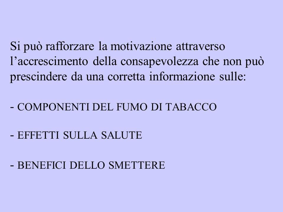 Si può rafforzare la motivazione attraverso laccrescimento della consapevolezza che non può prescindere da una corretta informazione sulle: - COMPONENTI DEL FUMO DI TABACCO - EFFETTI SULLA SALUTE - BENEFICI DELLO SMETTERE