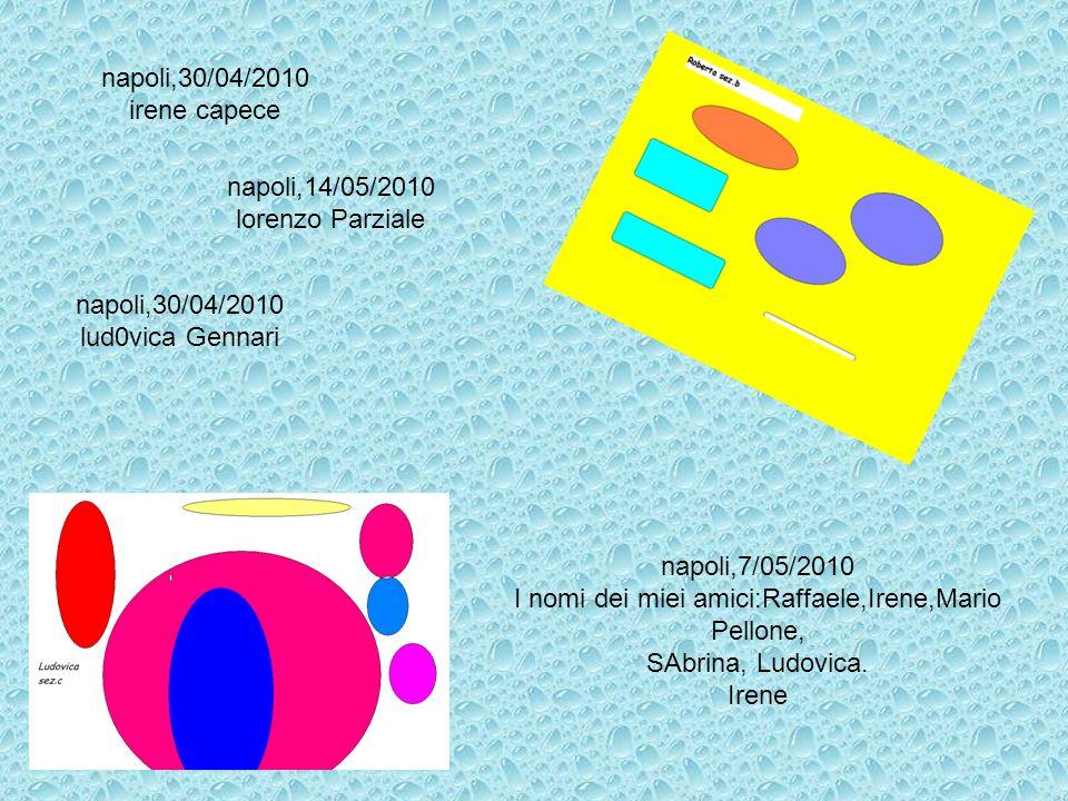 napoli,30/04/2010 irene capece napoli,7/05/2010 I nomi dei miei amici:Raffaele,Irene,Mario Pellone, SAbrina, Ludovica. Irene napoli,14/05/2010 lorenzo
