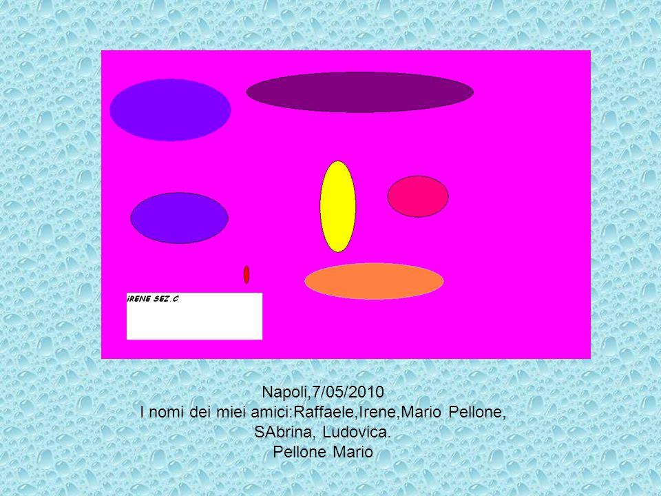 Napoli,7/05/2010 I nomi dei miei amici:Raffaele,Irene,Mario Pellone, SAbrina, Ludovica. Pellone Mario