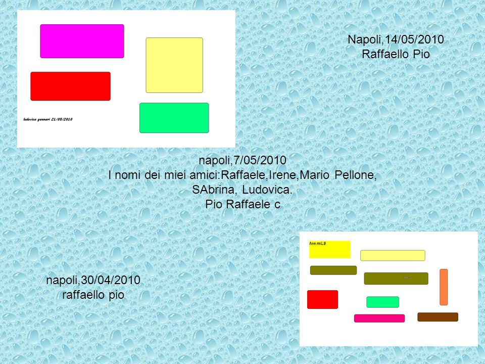 Napoli,14/05/2010 Raffaello Pio napoli,7/05/2010 I nomi dei miei amici:Raffaele,Irene,Mario Pellone, SAbrina, Ludovica. Pio Raffaele c napoli,30/04/20