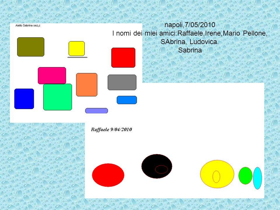 napoli,7/05/2010 I nomi dei miei amici:Raffaele,Irene,Mario Pellone, SAbrina, Ludovica. Sabrina