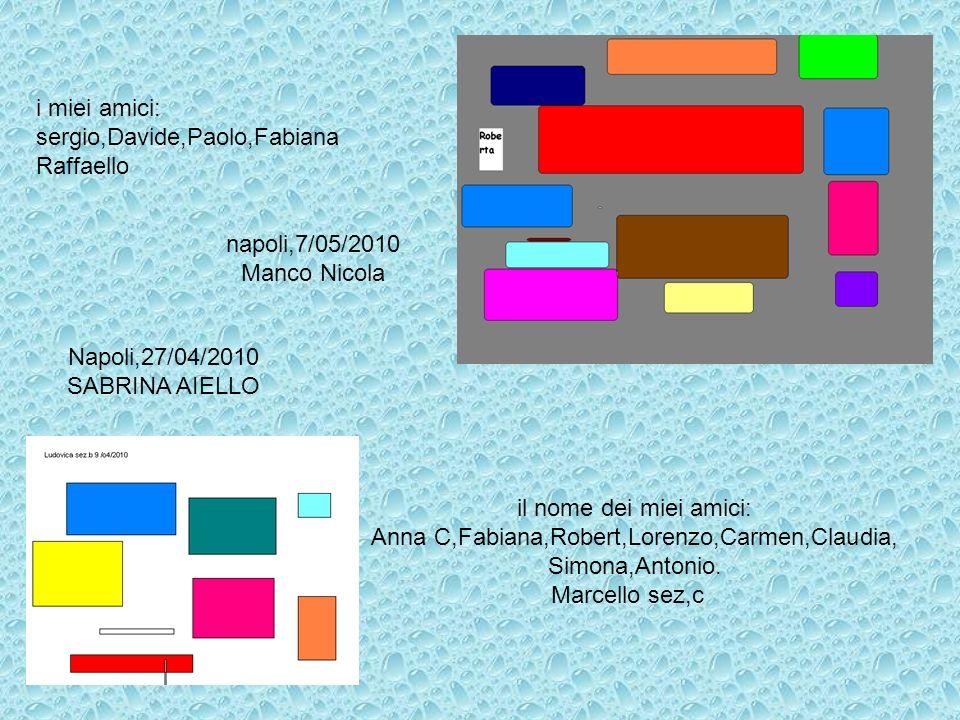 i miei amici: sergio,Davide,Paolo,Fabiana Raffaello Napoli,27/04/2010 SABRINA AIELLO napoli,7/05/2010 Manco Nicola il nome dei miei amici: Anna C,Fabi