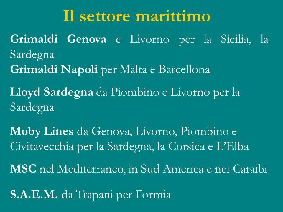 Il settore marittimo Grimaldi Genova e Livorno per la Sicilia, la Sardegna Grimaldi Napoli per Malta e Barcellona Lloyd Sardegna da Piombino e Livorno