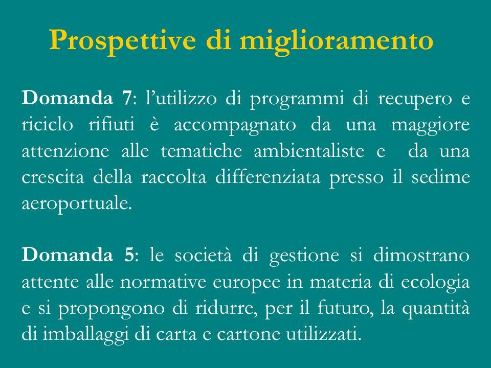 Prospettive di miglioramento Domanda 7: lutilizzo di programmi di recupero e riciclo rifiuti è accompagnato da una maggiore attenzione alle tematiche