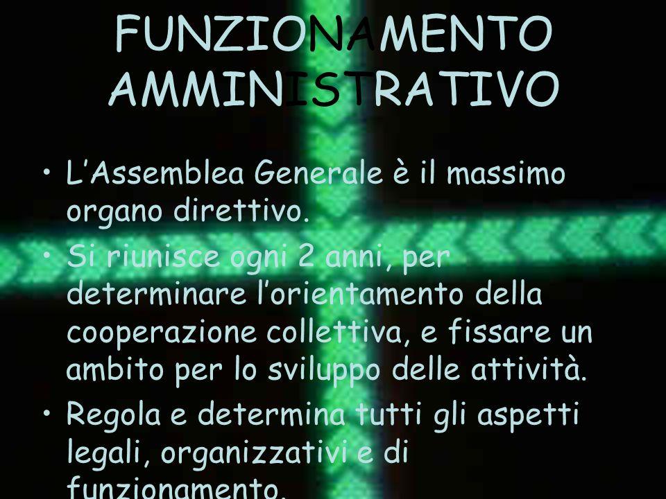 FUNZIONAMENTO AMMINISTRATIVO LAssemblea Generale è il massimo organo direttivo. Si riunisce ogni 2 anni, per determinare lorientamento della cooperazi