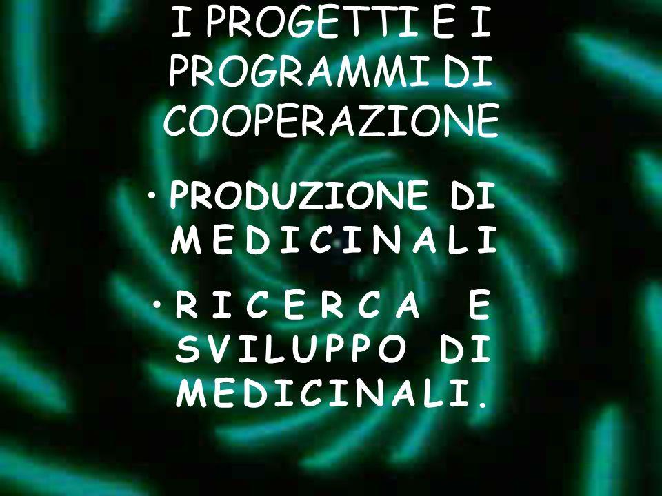 I PROGETTI E I PROGRAMMI DI COOPERAZIONE PRODUZIONE DI MEDICINALI RICERCA E SVILUPPO DI MEDICINALI.