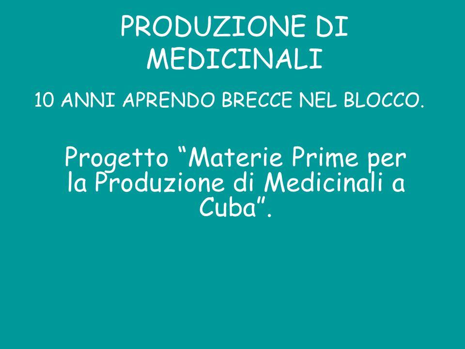 PRODUZIONE DI MEDICINALI 10 ANNI APRENDO BRECCE NEL BLOCCO. Progetto Materie Prime per la Produzione di Medicinali a Cuba.
