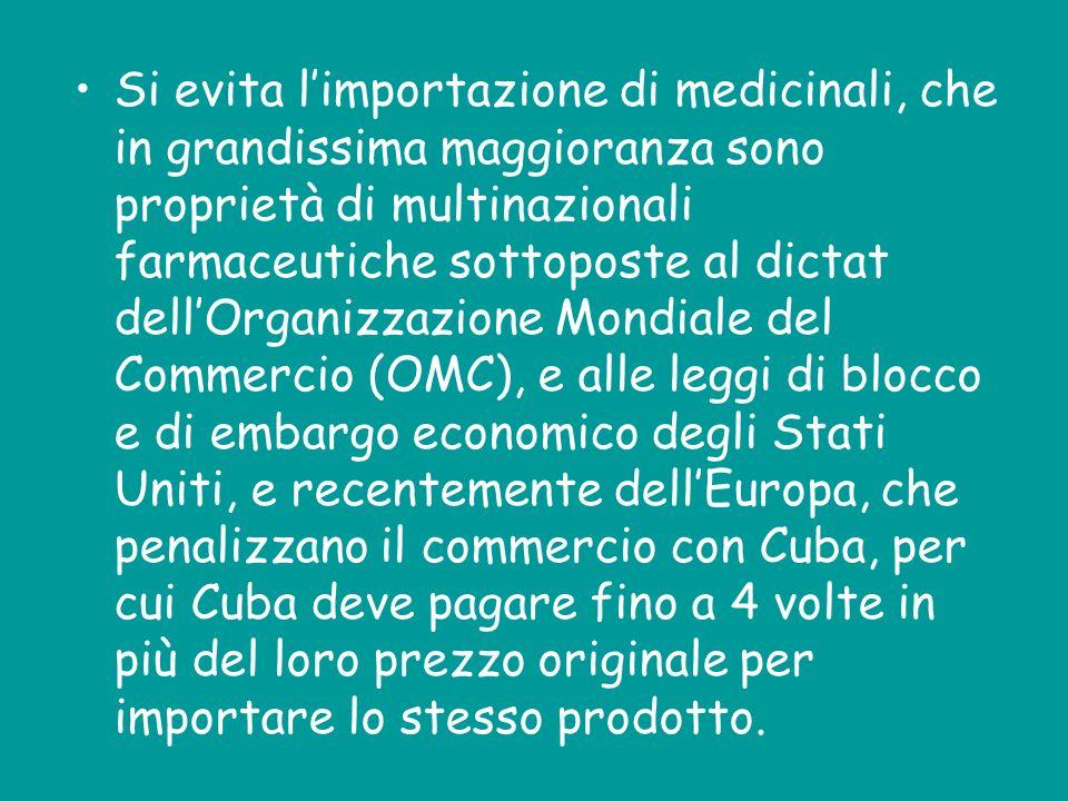 Si evita limportazione di medicinali, che in grandissima maggioranza sono proprietà di multinazionali farmaceutiche sottoposte al dictat dellOrganizza