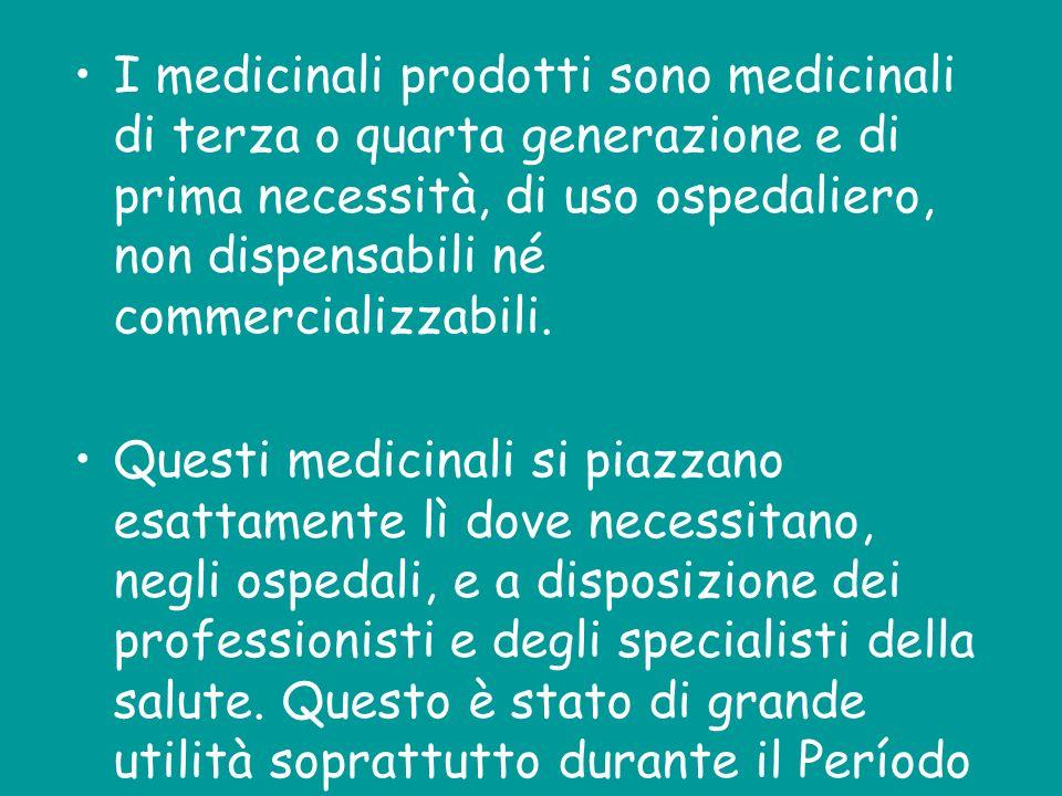 I medicinali prodotti sono medicinali di terza o quarta generazione e di prima necessità, di uso ospedaliero, non dispensabili né commercializzabili.