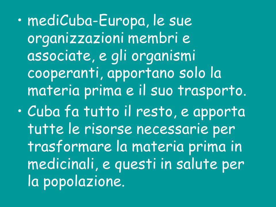 mediCuba-Europa, le sue organizzazioni membri e associate, e gli organismi cooperanti, apportano solo la materia prima e il suo trasporto. Cuba fa tut