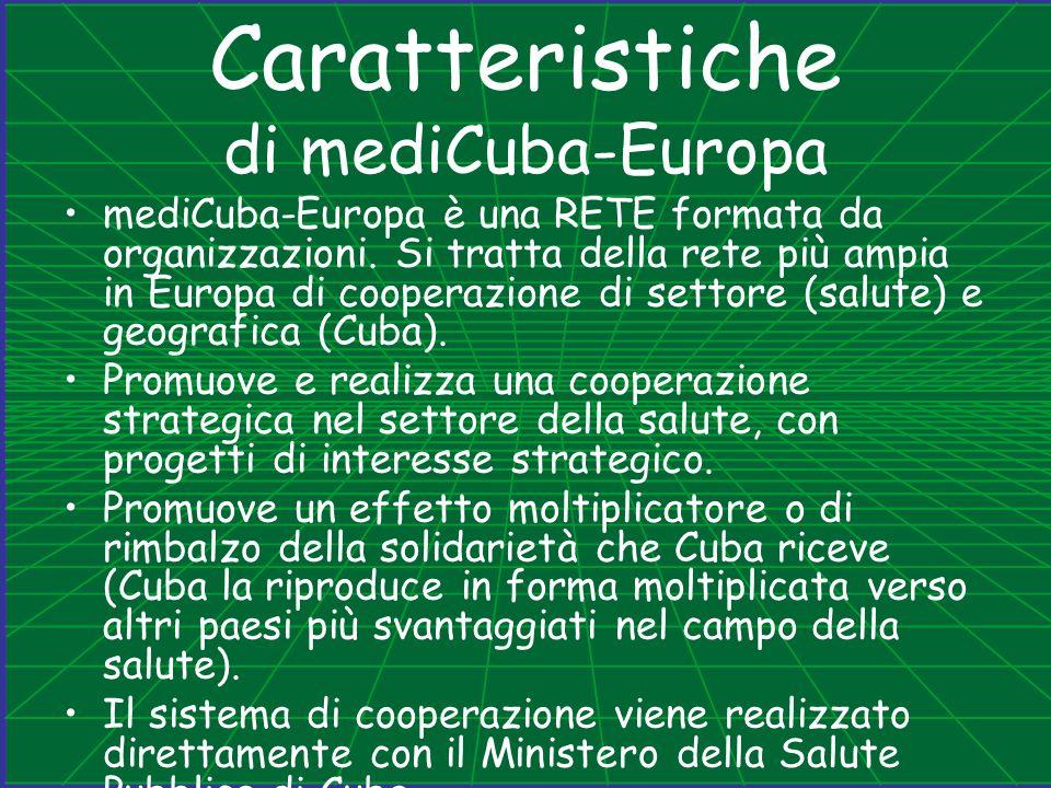 Caratteristiche di mediCuba-Europa mediCuba-Europa è una RETE formata da organizzazioni. Si tratta della rete più ampia in Europa di cooperazione di s