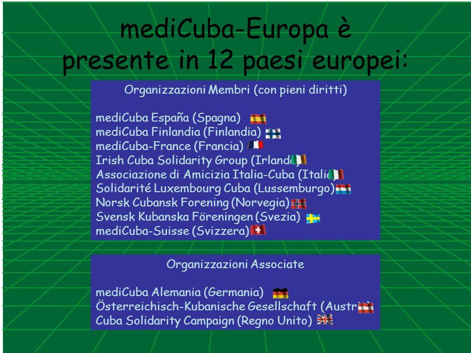 mediCuba-Europa è presente in 12 paesi europei: Organizzazioni Membri (con pieni diritti) mediCuba España (Spagna) mediCuba Finlandia (Finlandia) medi