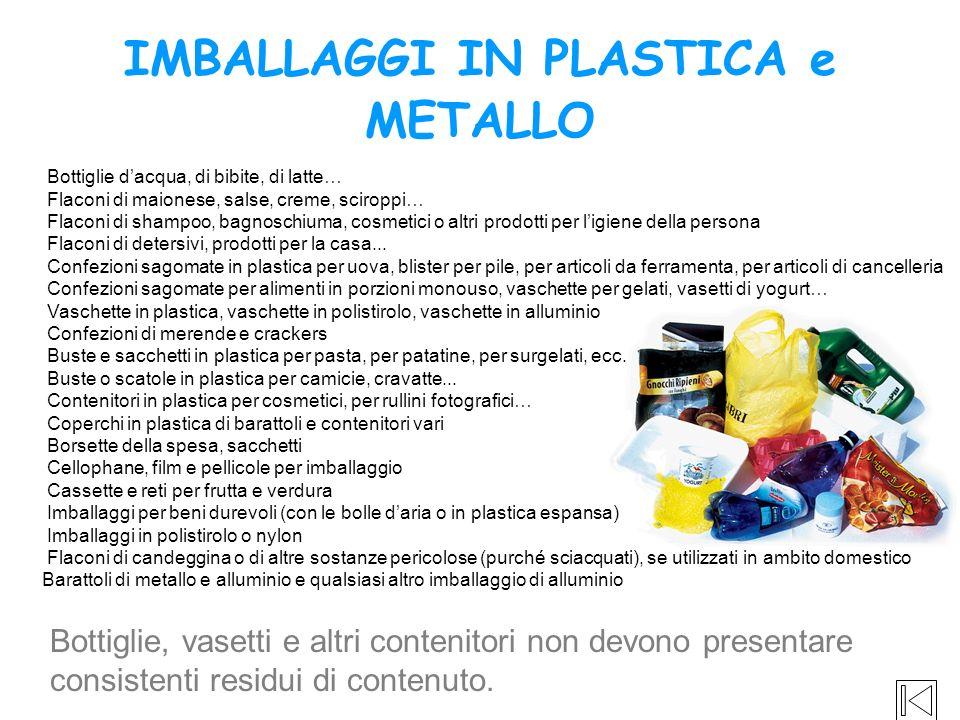 IMBALLAGGI IN PLASTICA e METALLO Bottiglie, vasetti e altri contenitori non devono presentare consistenti residui di contenuto. Bottiglie dacqua, di b
