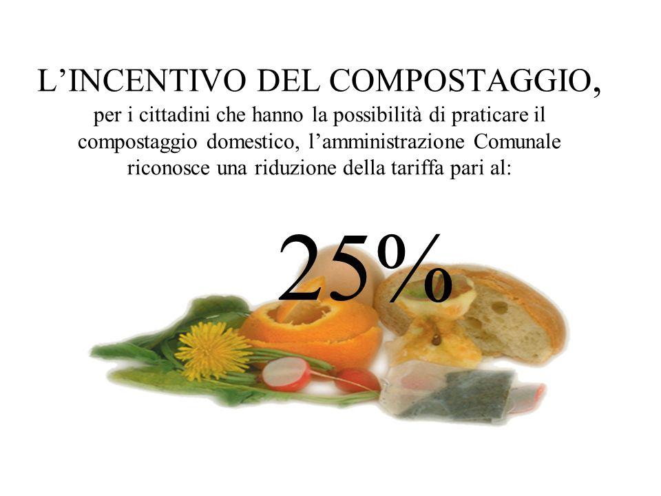 LINCENTIVO DEL COMPOSTAGGIO, per i cittadini che hanno la possibilità di praticare il compostaggio domestico, lamministrazione Comunale riconosce una