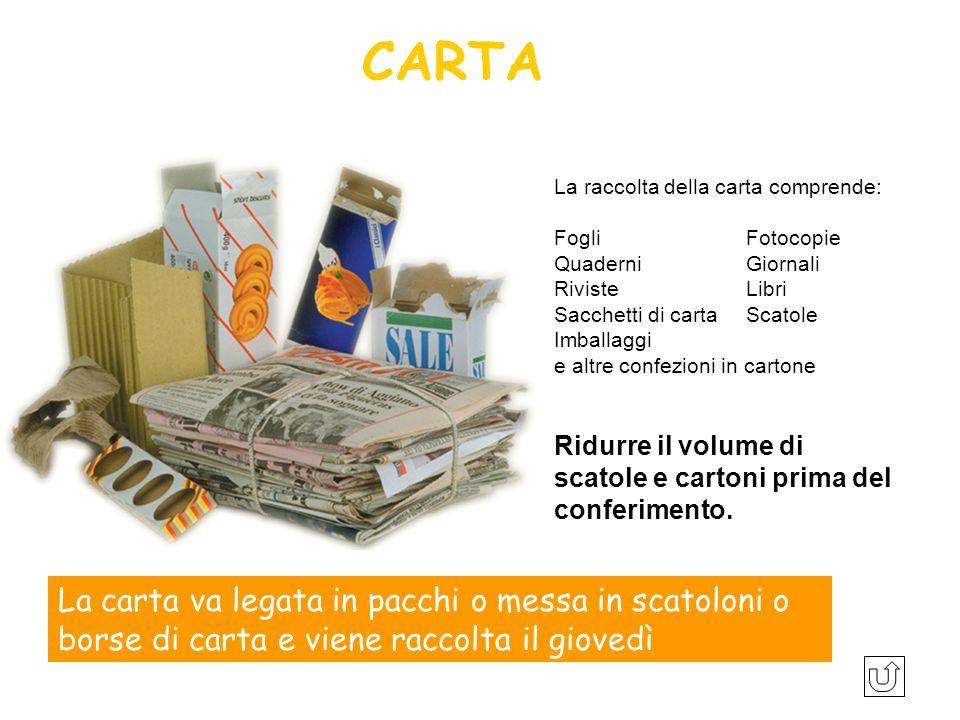 La raccolta della carta comprende: FogliFotocopie Quaderni Giornali Riviste Libri Sacchetti di carta Scatole Imballaggi e altre confezioni in cartone