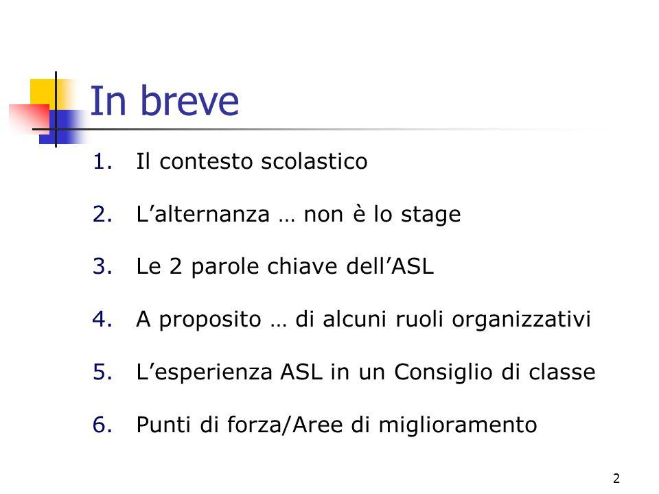 2 In breve 1.Il contesto scolastico 2.Lalternanza … non è lo stage 3.Le 2 parole chiave dellASL 4.A proposito … di alcuni ruoli organizzativi 5.Lesper