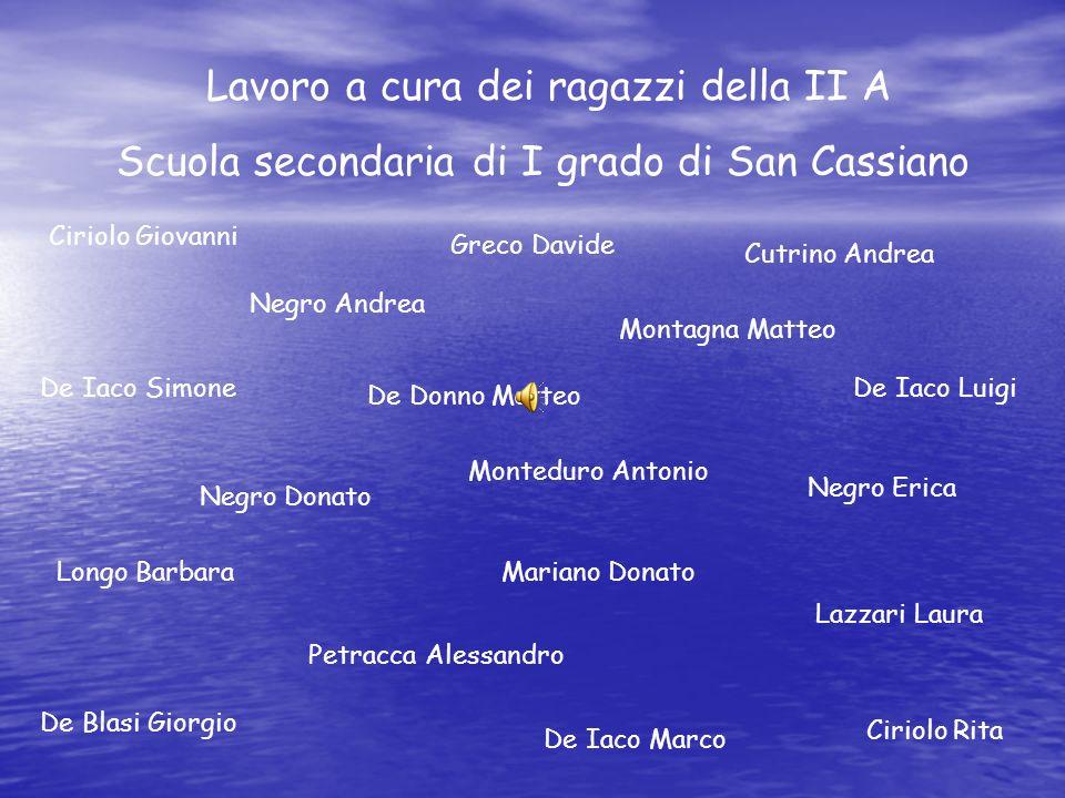 Lavoro a cura dei ragazzi della II A Scuola secondaria di I grado di San Cassiano Ciriolo Giovanni Ciriolo Rita Cutrino Andrea De Blasi Giorgio De Don