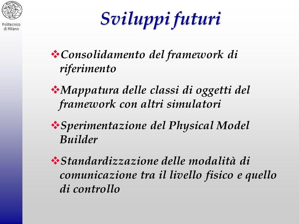 Politecnico di Milano Sviluppi futuri Consolidamento del framework di riferimento Mappatura delle classi di oggetti del framework con altri simulatori